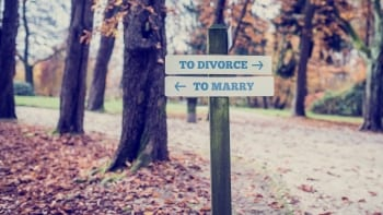 Sign post reading: To Divorce and To Marry, pointing in opposite directions.